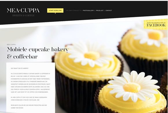 Color combination of Mea Cuppa Web design