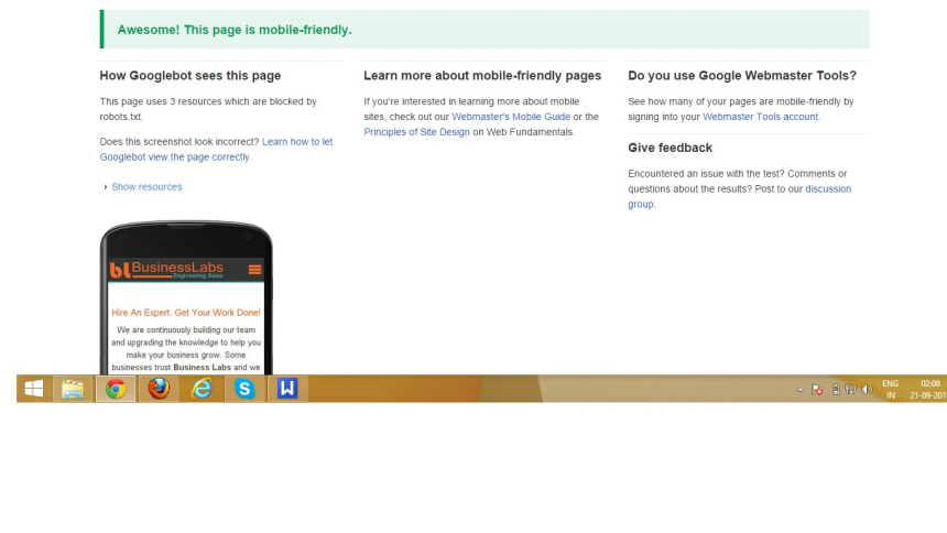 Google mobile test of business labs site