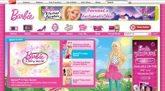 barbie website colors