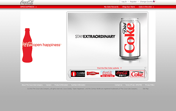 colors used in coca cola website