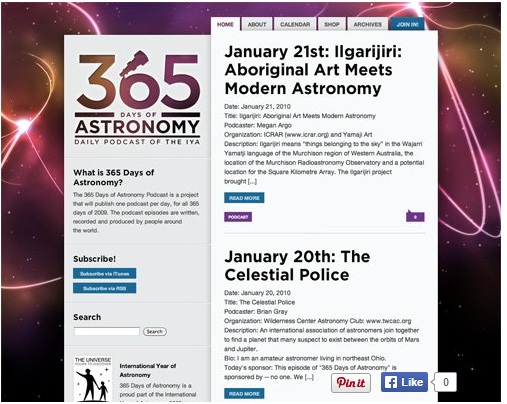 Color combination of 365Days of Astronomy Web design