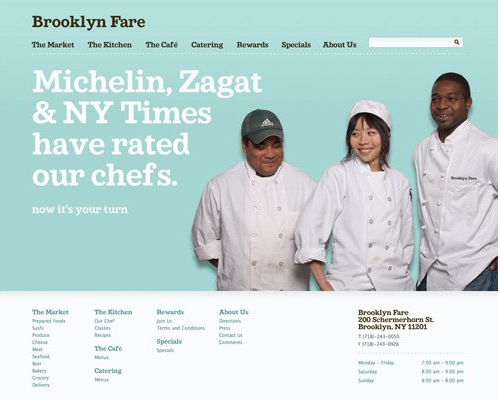 Color combination of Brooklyn Fare Web design