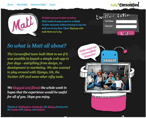 Color combination of Matt Web design