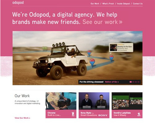 Color combination of Odopod lighter Web design