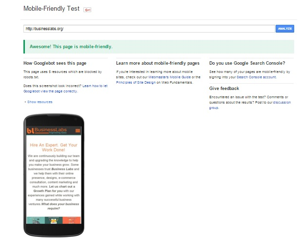 mobile friendly test of business labs website