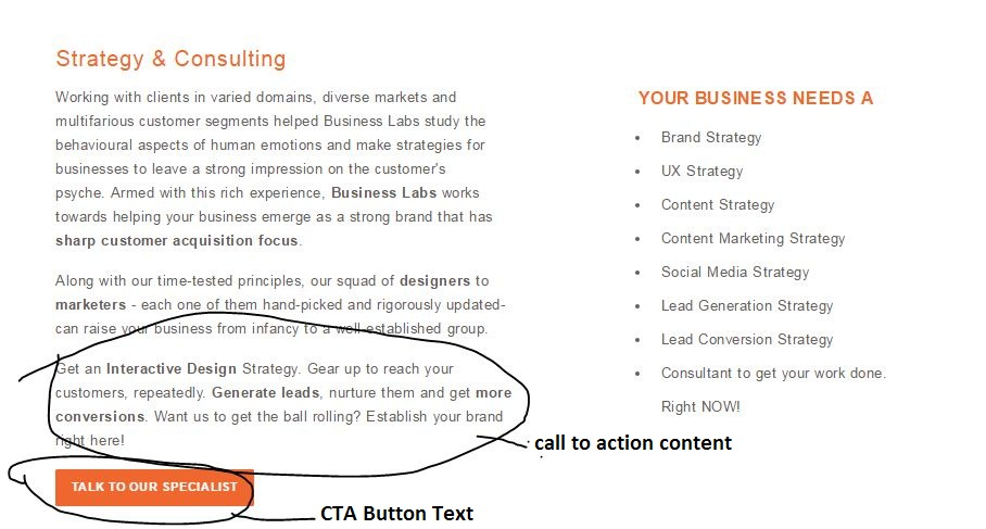 Call to action in businesslabs services page